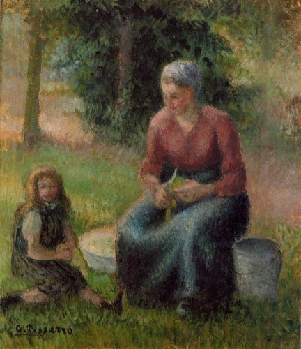 Peasant Woman and Her Daughter, Eragny, 1903 by Camille Pissarro