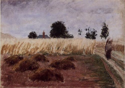 Peasant Woman on a Country Road by Camille Pissarro