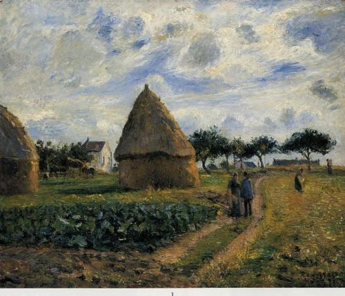 Peasants and Hay Stacks, 1878 by Camille Pissarro