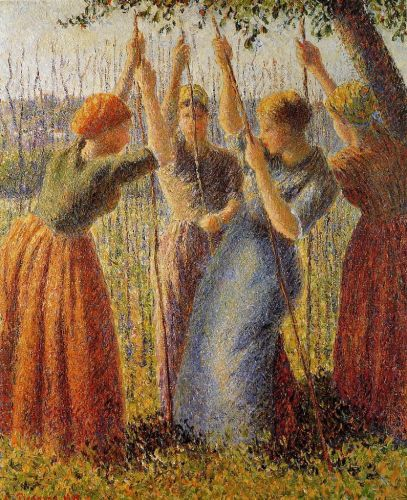 Peasants Planting Pea Sticks, 1891 by Camille Pissarro