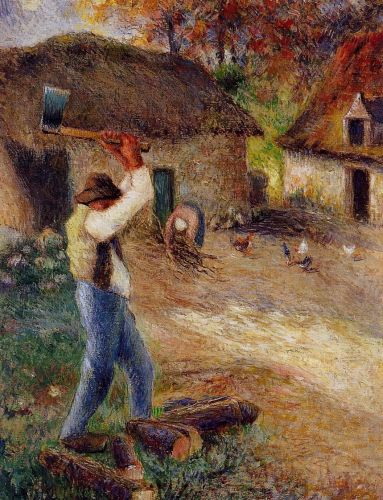 Pere Melon Cutting Wood, 1880 by Camille Pissarro