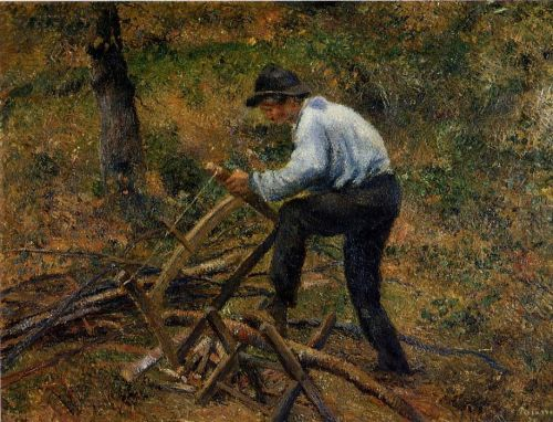 Pere Melon Sawing Wood, 1879 by Camille Pissarro