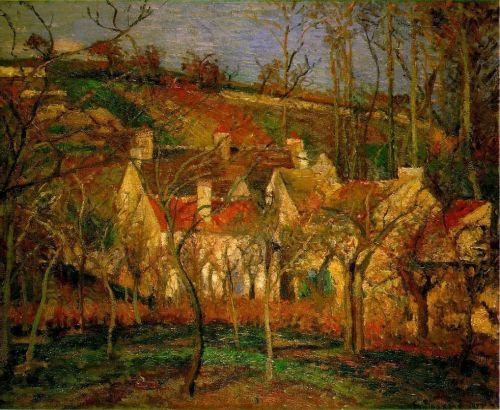 Red Roofs, Corner of a Village, Winter (Cote de Saint-Denis at Pontoise), 1877 by Camille Pissarro
