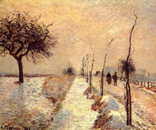 Road at Eragny, Winter, 1885 by Camille Pissarro
