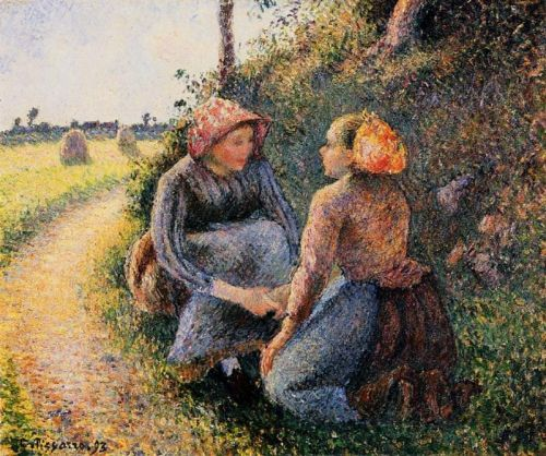 Seated and Kneeling Peasants, 1893 by Camille Pissarro