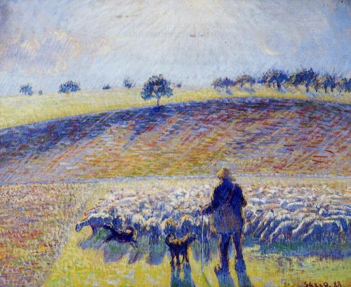 Shepherd and Sheep, 1888 by Camille Pissarro