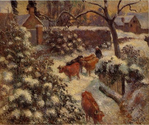 Snow Effect in Montfoucault, 1882 by Camille Pissarro