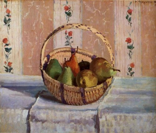 Still Life, Apples and Pears in a Round Basket, 1872 by Camille Pissarro