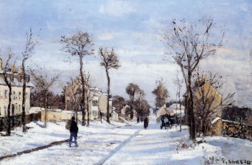 Street in the Snow, Louveciennes, 1872 by Camille Pissarro