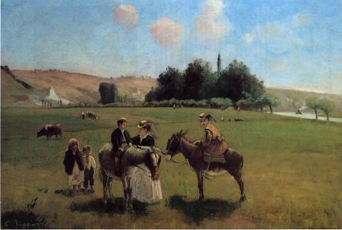 The Donkey Ride at Le Roche Guyon, 1864-1865 by Camille Pissarro