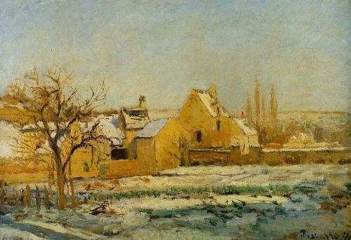 The Effect of Snow at l'Hermitage, 1874 by Camille Pissarro