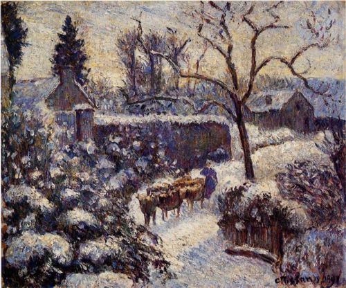 The Effect of Snow at Montfoucault, 1891 by Camille Pissarro