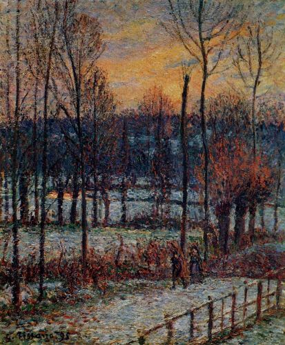 The Effect of Snow, Sunset, Eragny, 1895 by Camille Pissarro