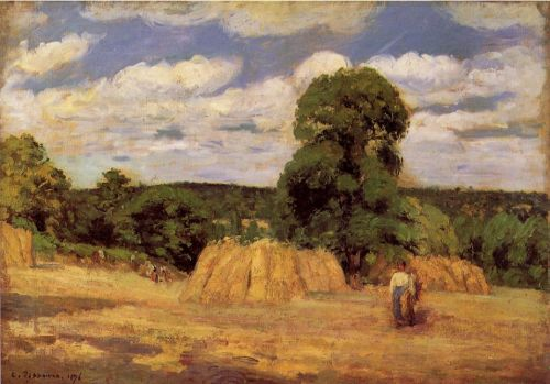 The Harvest at Montfoucault, 1876 by Camille Pissarro