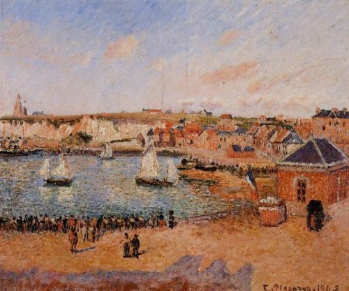 The Inner Harbor, Dieppe: Afternoon, Sun, Low Tide, 1902 by Camille Pissarro