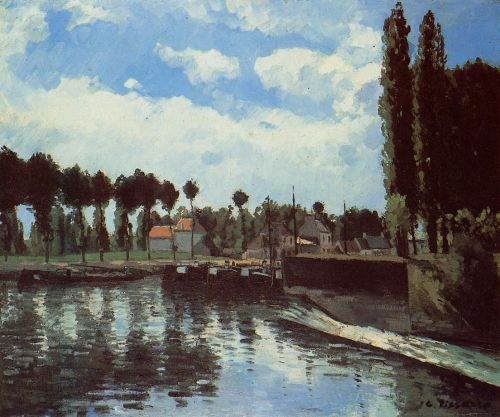 The Lock at Pontoise, 1869 by Camille Pissarro
