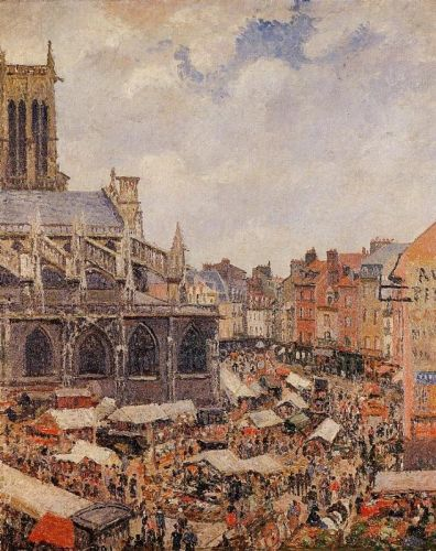 The Market by the Church of Saint-Jacques, Dieppe, 1901 by Camille Pissarro