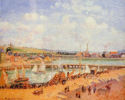 The Port of Dieppe, the Dunquesne and Berrigny Basins: High Tide, Sunny Afternoon, 1902 by Camille Pissarro