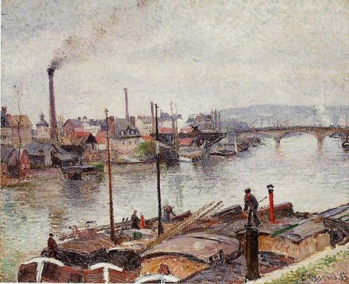 The Port of Rouen, 1883 by Camille Pissarro