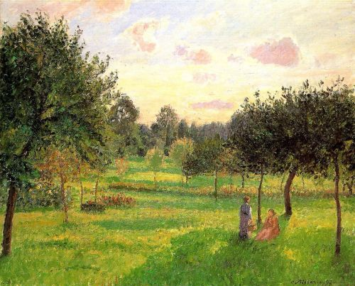 Two Women in a Meadow: Sunset at Eragny, 1897 by Camille Pissarro