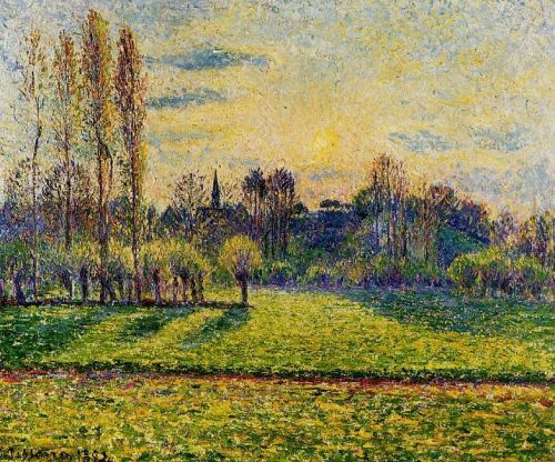 View of Bazincourt, Sunset, 1892 by Camille Pissarro