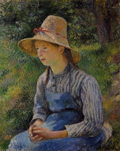 Peasant Girl with a Straw Hat (Young Peasant Girl Wearing a Hat), 1881 by Camille Pissarro
