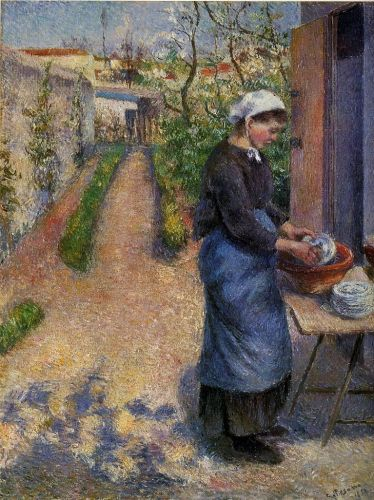 Young Woman Washing Plates, 1882 by Camille Pissarro