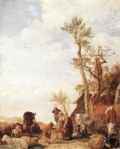 Peasant Family with Animals by Paulus Potter