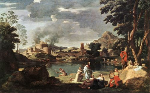 Landscape with Orpheus and Euridice by Nicolas Poussin
