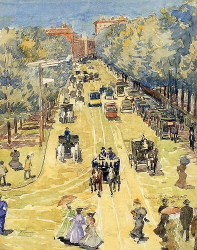 Charles Street, Boston by Maurice Prendergast