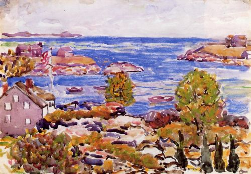 House with Flag in the Cove by Maurice Prendergast