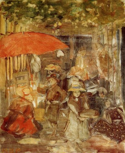 Picnic with Red Umbrella by Maurice Prendergast