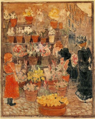 Rome: Flower Stall by Maurice Prendergast