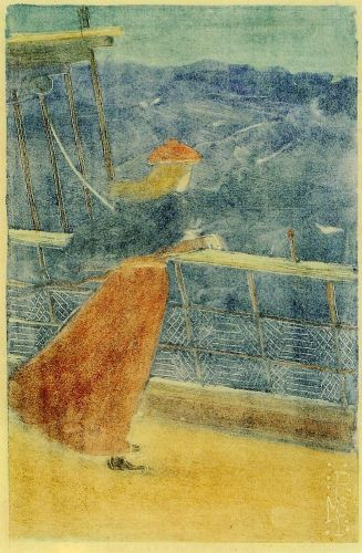 Woman on Ship Deck by Maurice Prendergast