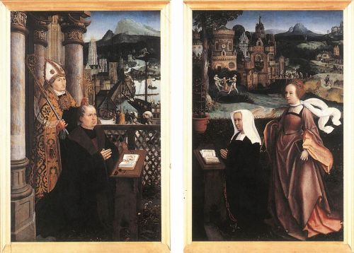 Donor with St Nicholas and his Wife with St Godelina by Jan Provost