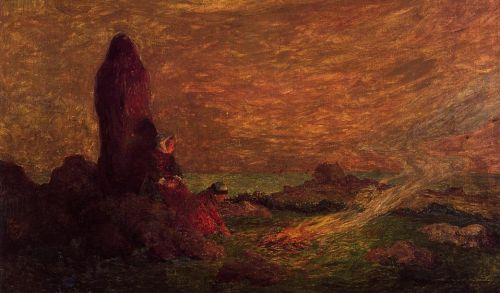 Le Croisic, Girls at the Foot of a Standing Stone by Ferdinand Loyen Du Puigaudeau