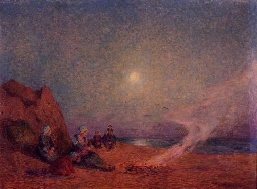 Le Pouldu, Woman on the Beach beside a Fire by Ferdinand Loyen Du Puigaudeau