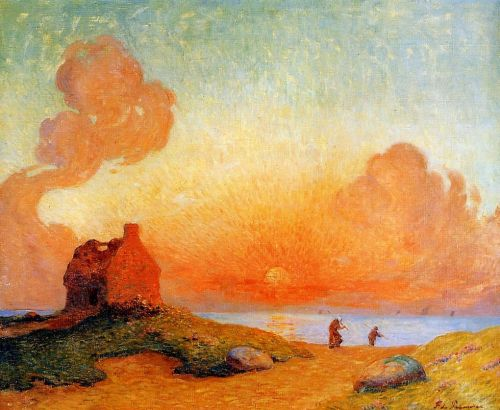 Sunset by the Sea, Brittany by Ferdinand Loyen Du Puigaudeau