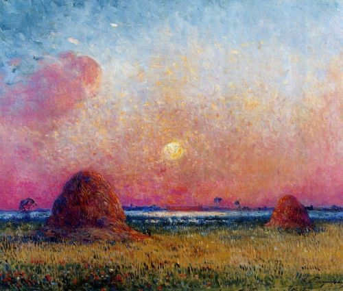 Wheat Stack at Sunset by Ferdinand Loyen Du Puigaudeau