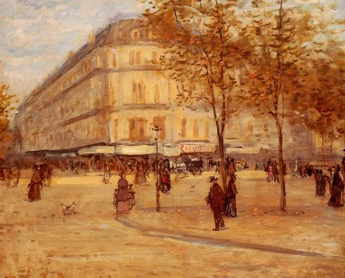 Place Du Theature Francais, Paris by Jean François Raffaelli
