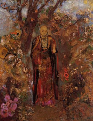 Buddha Walking among the Flowers by Odilon Redon