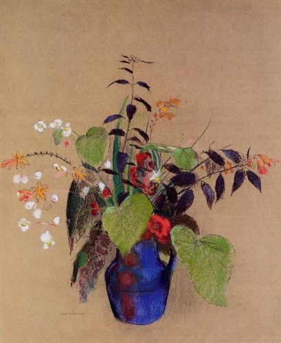 Flowers in a Blue Jug by Odilon Redon