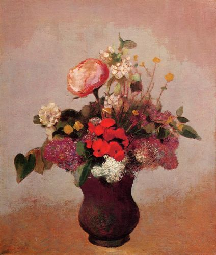 Flowers in a Brown Vase by Odilon Redon