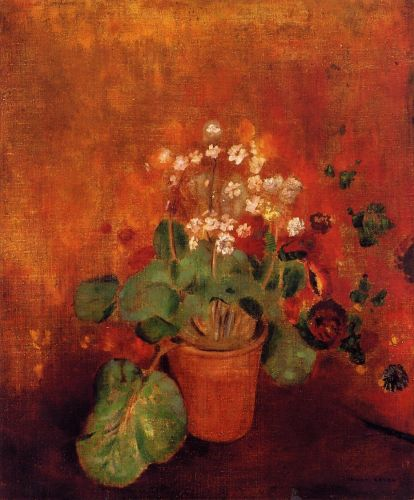 Flowers in a Port on a Red Background by Odilon Redon