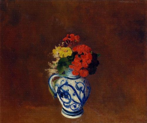 Flowers in a Vase with Blue Decoration by Odilon Redon