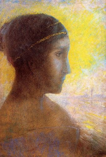 Head of a Young Woman in Profile by Odilon Redon