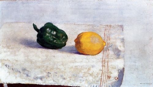 Pepper and Lemon on a White Tablecloth by Odilon Redon