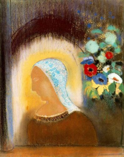 Profile and Flowers by Odilon Redon