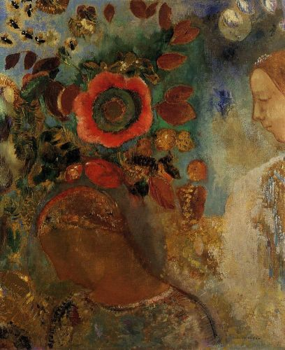 Two Young Girls among the Flowers by Odilon Redon