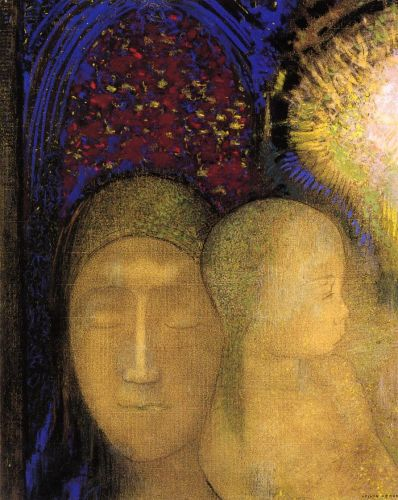 Woman and Child against a Stained Glass Background by Odilon Redon